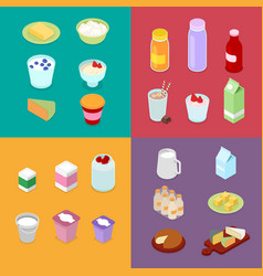isometric milk industry production dairy products vector image