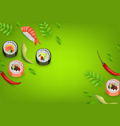 Japanese sushi banner with rolls ebi nigiri vector