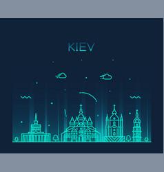 kiev skyline city ukraine linear style vector image