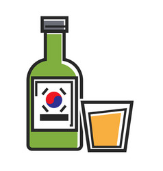 korean drink in bottle and glass cup isolated vector image
