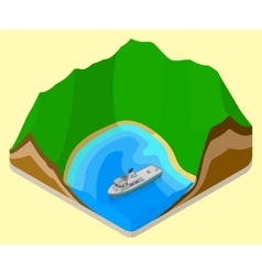 Lagoon isometric coastline relief vector