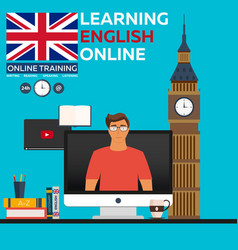learning english online online training distance vector image