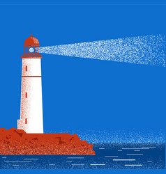 Lighthouse night seascape horizon vector