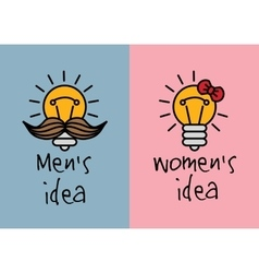 Man and woman ideas creative fun color icons vector