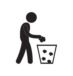man throwing trash can pictogram vector image