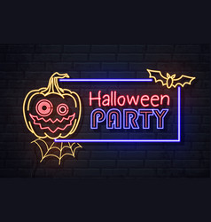 neon sign halloween party with jack-o-lantern vector image