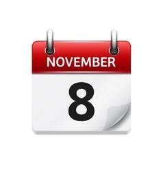November 8 flat daily calendar icon date vector