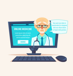 online doctor man character look out laptop vector image
