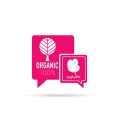 Organic icon in speech bubble in pink vector