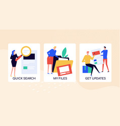 Quick documents search colorful banner vector