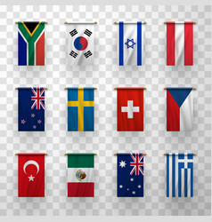 realistic 3d flags icons countries symbolic set vector image