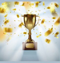 realistic golden trophy cup with falling confetti vector image