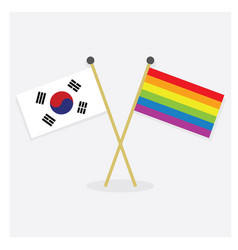 Republic of korea and colorful pride rainbow flags vector