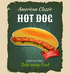 Retro fast food hot dog poster vector