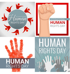 Rights day banner set cartoon style vector