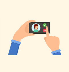 ringing smartphone incoming call ui vector image
