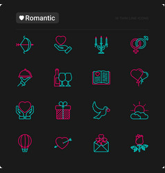 romantic thin line icons set vector image