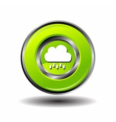 Round button weather icon - Bubble Cloud with Rain vector image