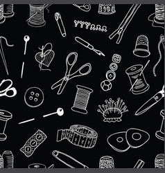 Seamless pattern of sewing kit vector