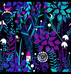 Seamless pattern with night forest plants and vector