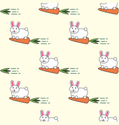 seamless pattern with rabbit and carrot cartoon vector image