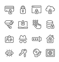 security line icons modern monochrome vector image
