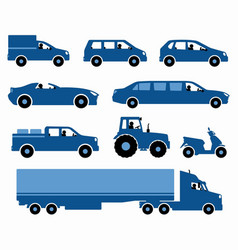 set cars silhouettes vector image