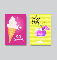 set enjoy summer ice cream badge isolated vector image
