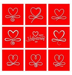 Set nine vintage valentines day hand drawn vector