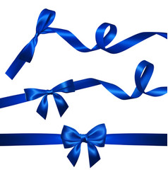 set of realistic blue bow with long curled blue vector image