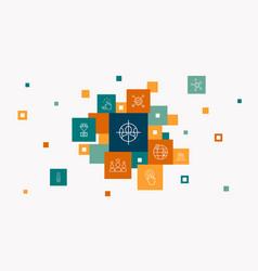 Social media marketing infographic 10 steps pixel vector