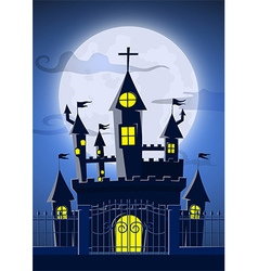 Spooky ghost castle with full moon in background vector image