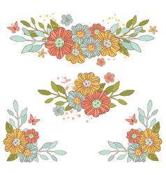 Spring bouquet flower decorative wreath vector