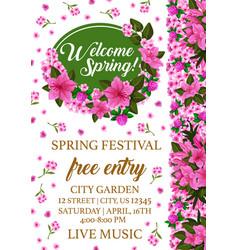 Spring festival poster with pink flower frame vector
