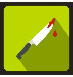 Steel knife covered with blood icon flat style vector