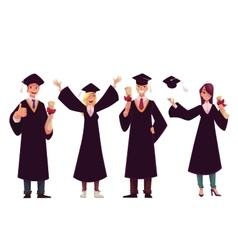 Students in traditional caps and gowns celebrating vector image