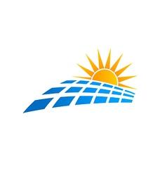 Sun solar panel logo vector image