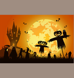 Sunset backgroundfestival halloween conceptfull vector