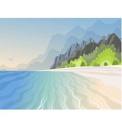 tropical island in the ocean with with high vector image
