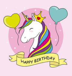 Unicorn with crown and balloons vector