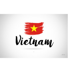 vietnam country flag concept with grunge design vector image