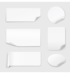 White Stickers - Set of paper stickers isolated on vector image