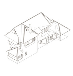 Wireframe two-story cottage house outline vector