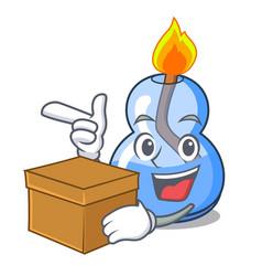 With box alcohol burner character cartoon vector