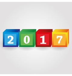 Year 2017 from red green blue and yellow bricks vector