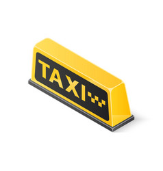yellow roof taxi sign isolated on white background vector image