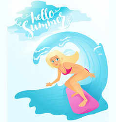 detailed flat blonde surfer vector image