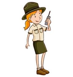 Female park ranger talking on radio vector image vector image