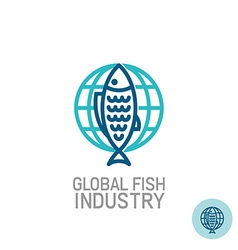 Fish with globe logo vector image