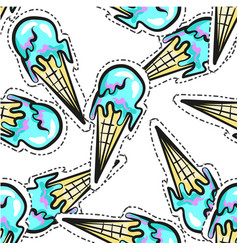 ice cream seamless pattern stocker pop art vector image vector image